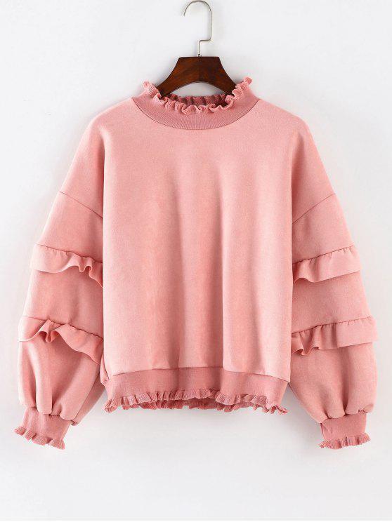 Drop Schulter Rüschen Sweatshirt - Pink S