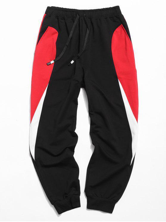 chic Drawstring Waist Panel Jogger Pants - NATURAL BLACK M