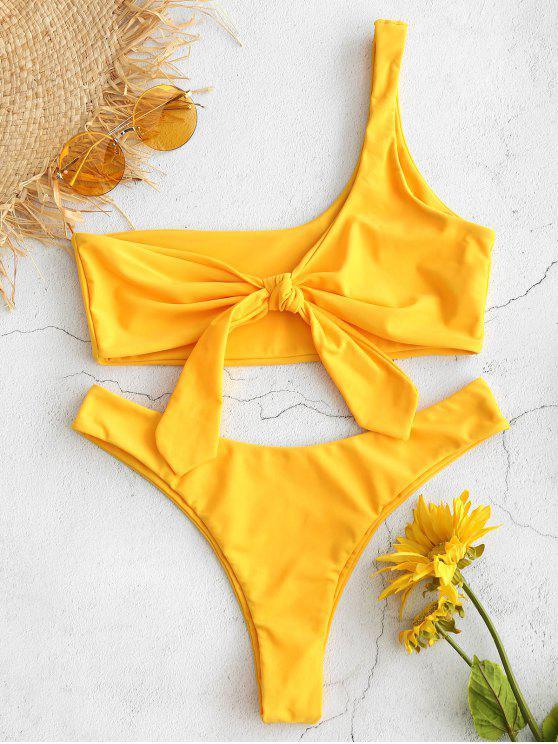 hot ZAFUL One Shoulder Knotted Bralette Bikini Set - BRIGHT YELLOW L