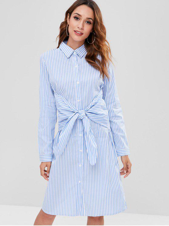 online ZAFUL Button Up Striped Knotted Dress - LIGHT SKY BLUE S