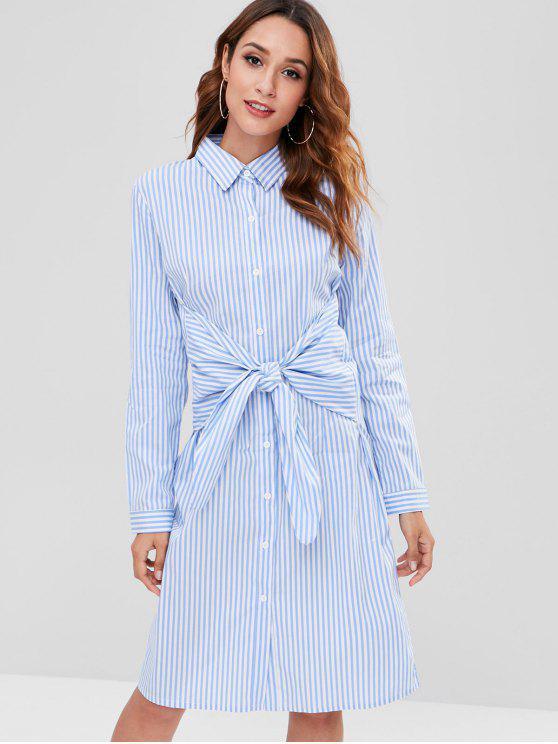 buy ZAFUL Button Up Striped Knotted Dress - LIGHT SKY BLUE M