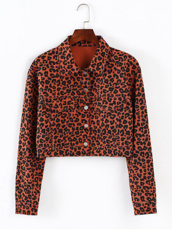 buy ZAFUL Button Up Leopard Cropped Jacket - LEOPARD L