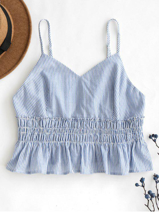 ZAFUL Stripes Smocked Ruffles Regata - Azul claro S