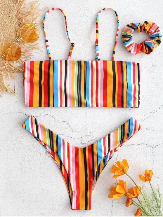 fancy ZAFUL Colorful Striped Cami Bikini with Headband - MULTI M