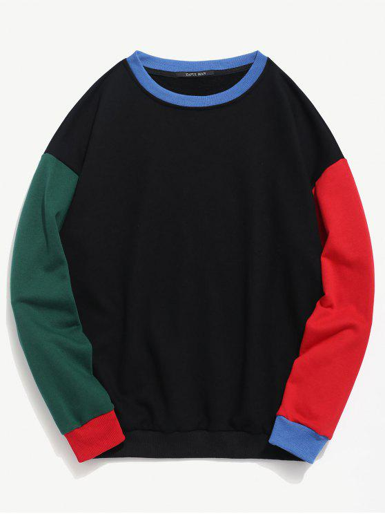 best ZAFUL Color Block Crew Neck Sweatshirt - BLACK M