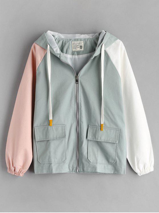 womens Reglan Sleeve Hit Color Jacket - MULTI-A L