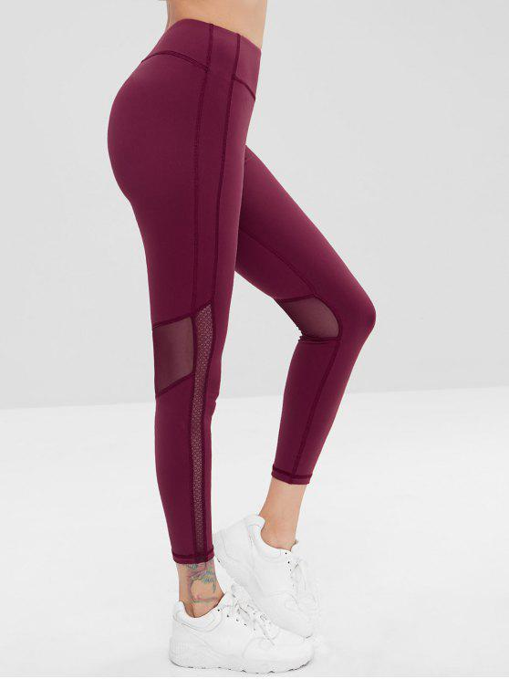 ladies ZAFUL Mesh Insert Sports Gym Leggings - RED WINE L