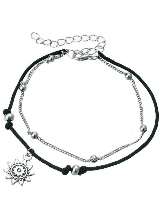 hot Vintage Metal Sun Beach Anklet Chain - SILVER
