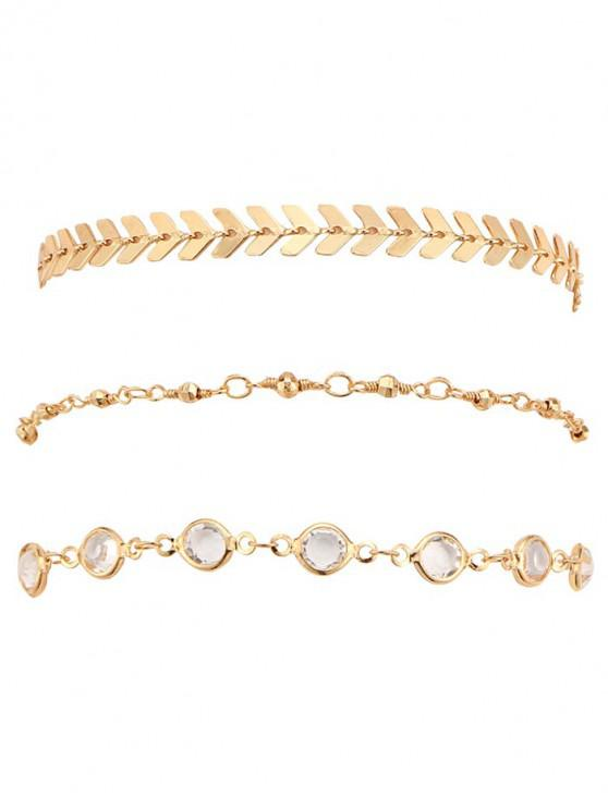 outfit Rhinestone Arrow Alloy Ankle Bracelet Set - GOLD