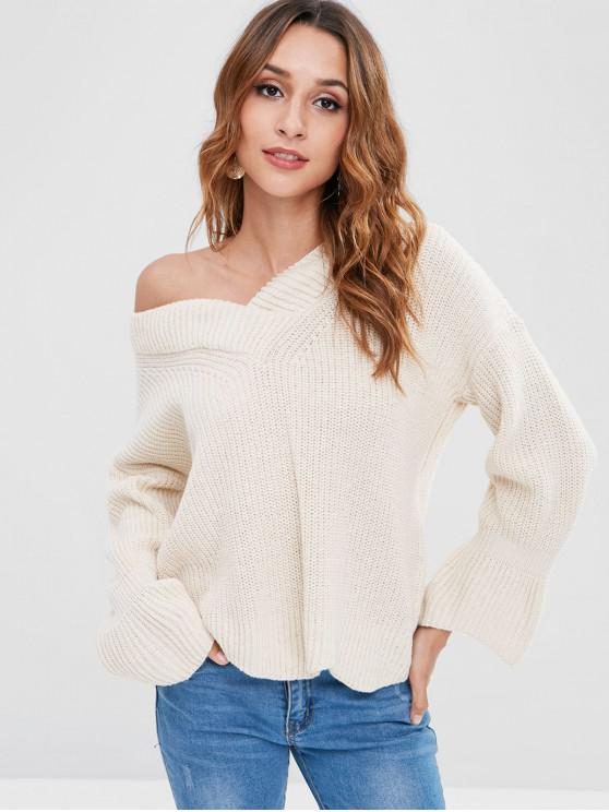ladies Bell Sleeve V Neck  Sweater - BEIGE ONE SIZE