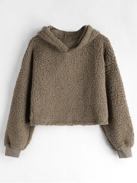 trendy Drop Shoulder Fluffy Boxy Hoodie - COFFEE M