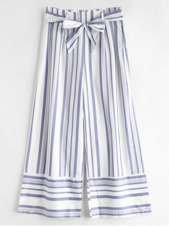 shop Belted Striped Wide Leg Pants - WHITE M
