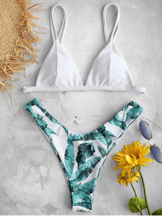 online ZAFUL Tropical Leaves Printed Bikini Set - WHITE L