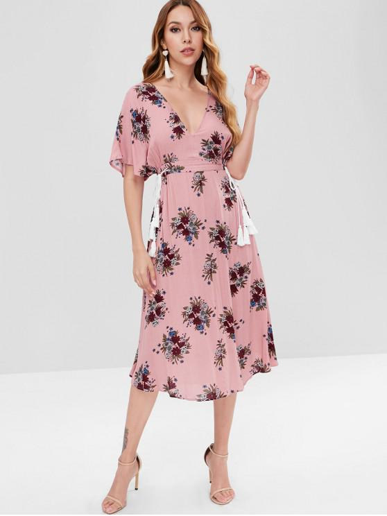chic Batwing Floral Cut Out Midi Dress - KHAKI ROSE M