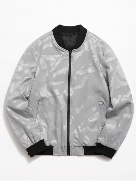 ladies Simple Zipper Placket Baseball Jacket - LIGHT GRAY XL