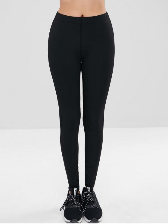 best Mesh Striped Panel Sports Leggings - BLACK M