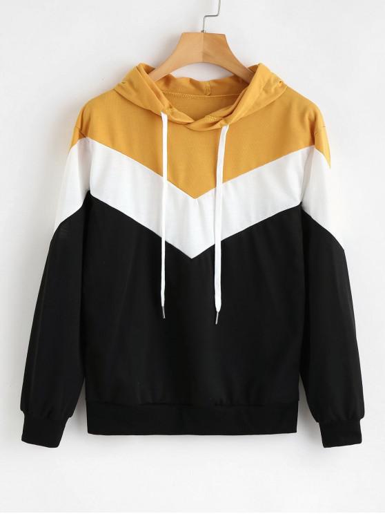 ladies Hit Color V-shaped Stripe Hoodie - MULTI-A XL