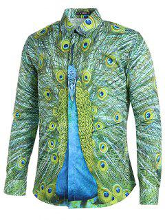Covered Button Peacock Printed Casual Shirt - Fern Green M