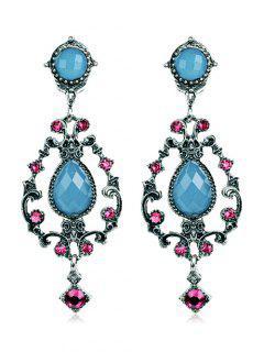 Rhinestone Water Drop Hollowed Earrings - Silk Blue