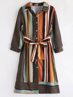Long Sleeve Knot Striped Shirt Dress - Multi L