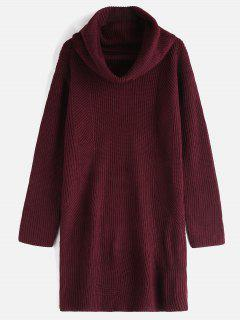 Cowl Neck Long Sleeve Sweater Dress - Red Wine
