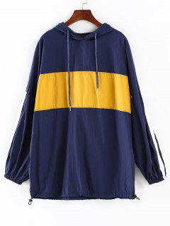 Oversized Color Block Windbreaker Hoodie - Deep Blue