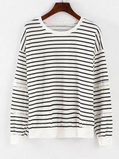 Sweat-shirt à Manches Longues à Rayures - Blanc L
