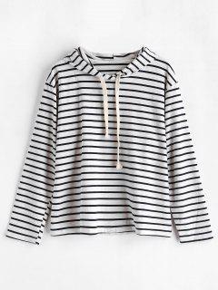 Striped Drawstring Loopback Pullover Hoodie - Multi