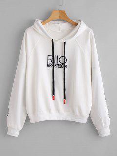 Figure Embroidery Raglan Sleeve Hoodie - White L