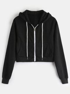 Zip Up Drawstring Short Hoodie - Black M
