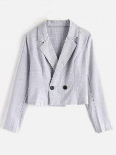 Double-breasted Plaid Blazer - Light Gray M