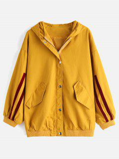 Single Breasted Hooded Casual Coat - Orange Gold