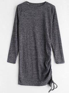 Heathered Draped Mini Dress - Carbon Gray M
