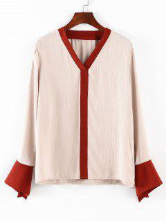 Blusa Casual Con Cuello En V - Albaricoque