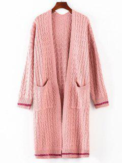 Cable Knit Collarless Midi Cardigan - Pink