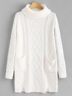 Notched Cable Knit Turtleneck Sweater - White S