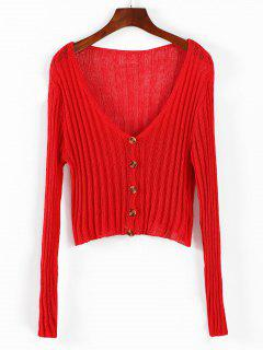 Plunge Knitted Cardigan - Red