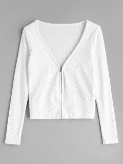 Zipper V Neck Cardigan - White S
