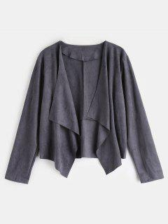 Open Front Faux Suede Jacket - Smokey Gray L