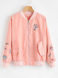 Zipper Embroidered Bomber Jacket - Orange Pink L