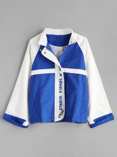 Color Block Embroidered Jacket - Cobalt Blue