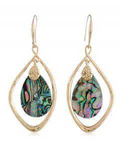Shell Teardrop Design Hook Earrings - Gold