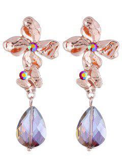 Pendientes Colgantes Con Diseño De Lágrima En Forma De Lágrima De Diamantes De Imitación - Oro Rosa