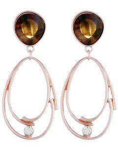 Pendientes De Gota En Forma De Lágrima De Diamantes De Imitación De Capa - Oro Rosa