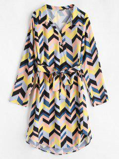 Belted Half Button Printed Dress - Multi-b Xl