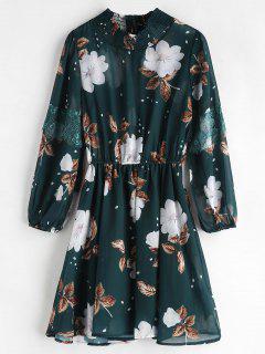 Blumen Smocked Lace Insert Kleid - Mittleres Meer Grün L