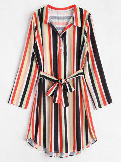 Belted Half Button Printed Dress - Multi-a S