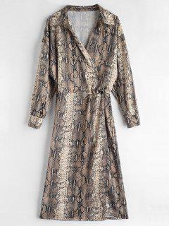 Snakeskin Drop Shoulder Wrap Dress - Multi L