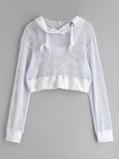 Drop Shoulder Fishnet Crop Hoodie - White L
