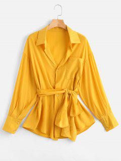Drop Shoulder Pocket Belted Blouse - Bright Yellow